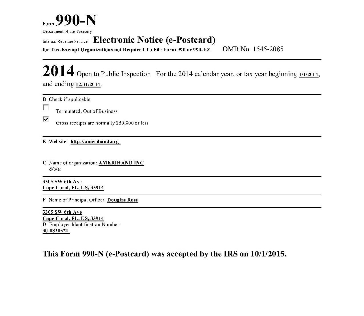 AAMERIHAND IRS FORM 990-N